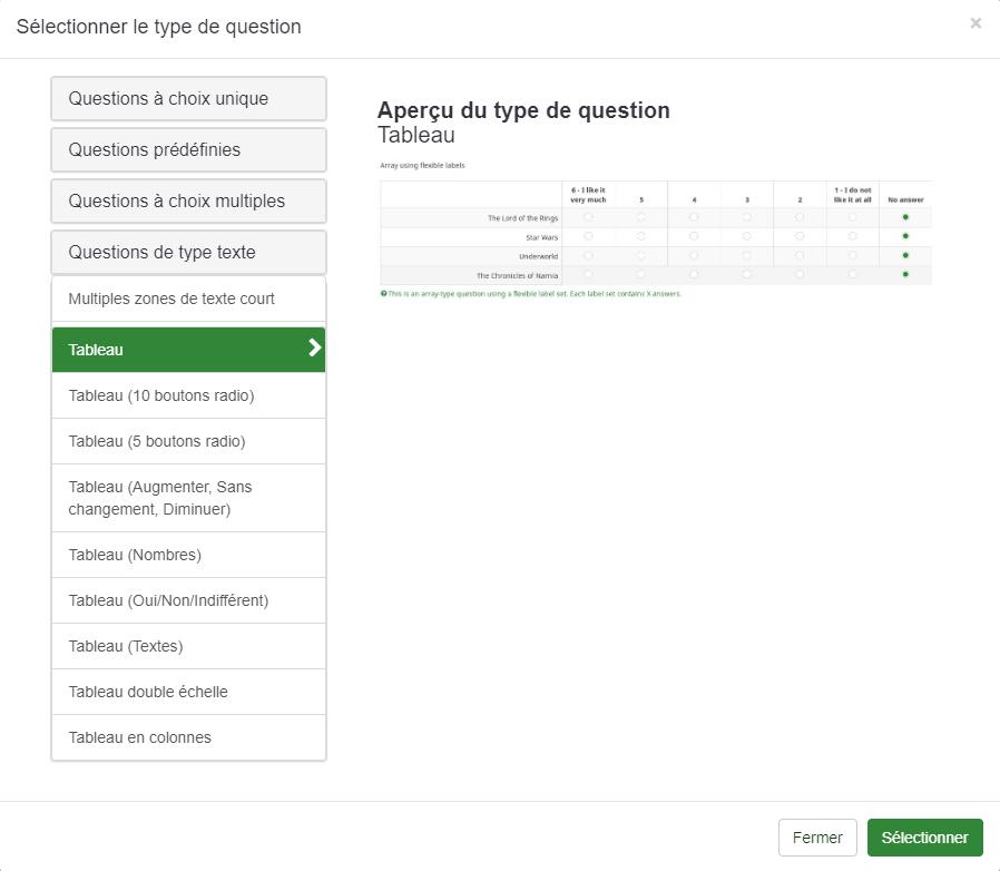 limsurvey sondage choix questions