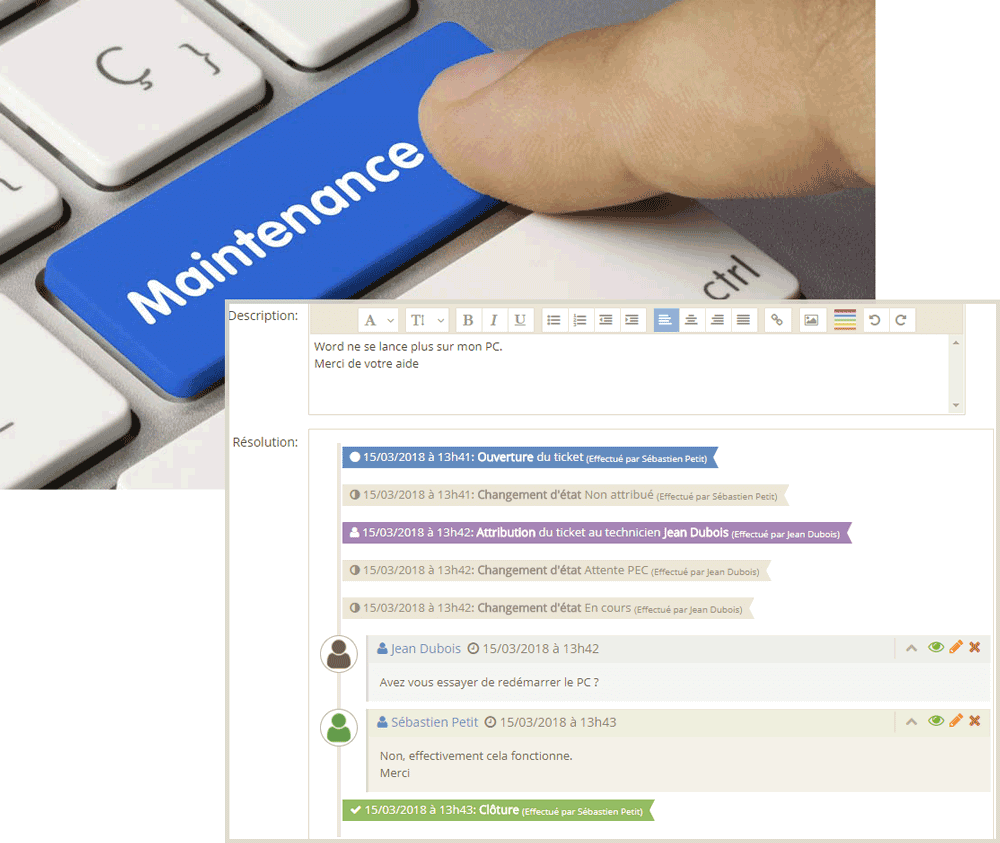 informatique clavier touche maintenance gestsup ticket