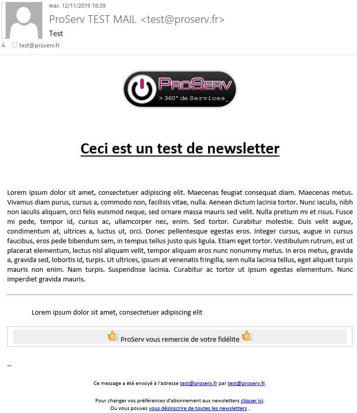 phplist newsletter exemple campagne