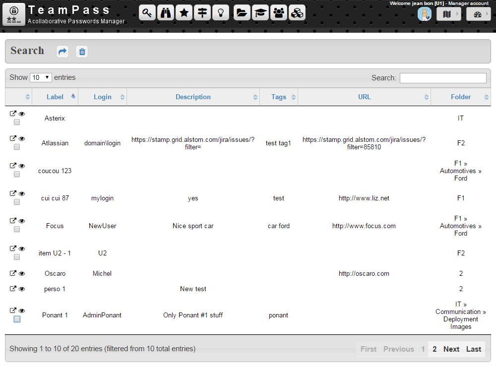 teampass mots de passe recherche